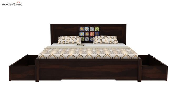 Boho Bed With Storage (Queen Size, Walnut Finish)-6