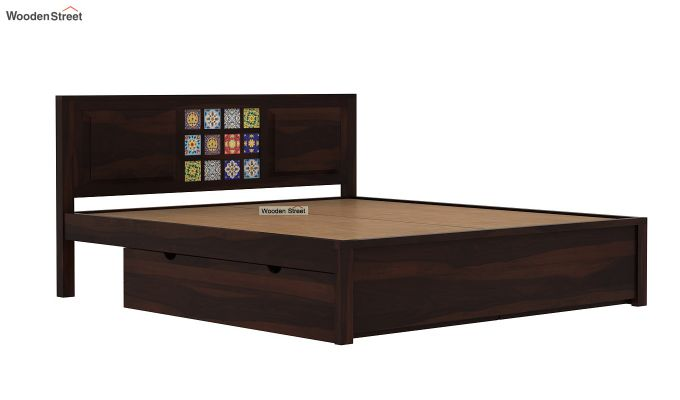 Boho Bed With Storage (Queen Size, Walnut Finish)-7