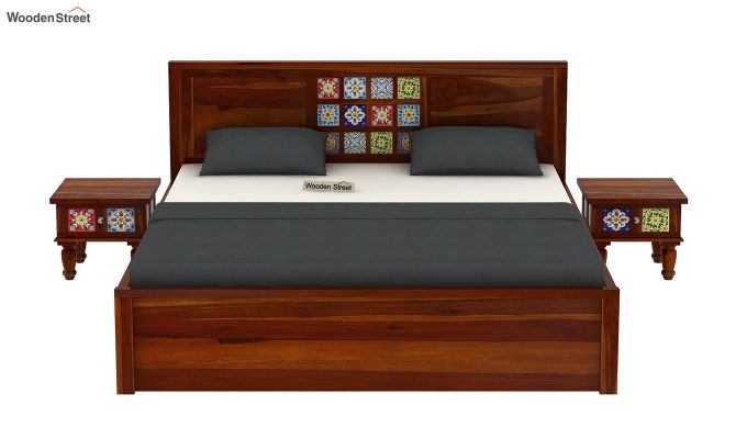 Boho Hydraulic Bed (Queen Size, Honey Finish)-3