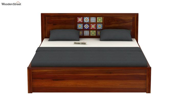 Boho Hydraulic Bed (Queen Size, Honey Finish)-5