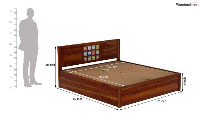 Boho Hydraulic Bed (Queen Size, Honey Finish)-9