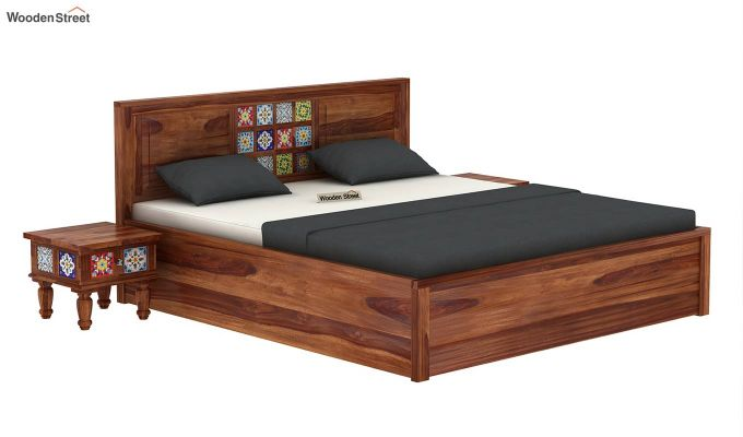 Boho Hydraulic Bed (King Size, Teak Finish)-2