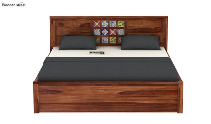 Boho Hydraulic Bed (King Size, Teak Finish)-5