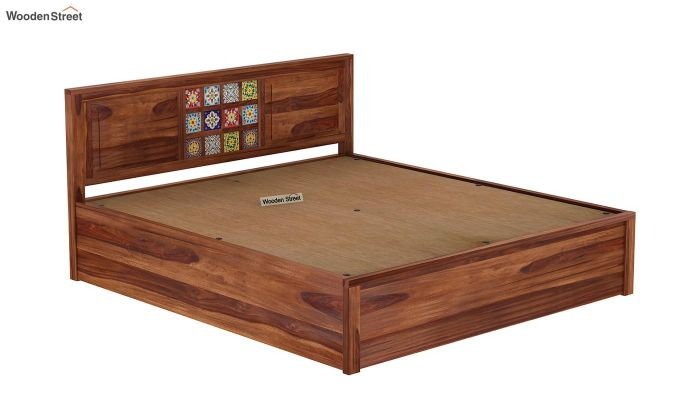 Boho Hydraulic Bed (King Size, Teak Finish)-8