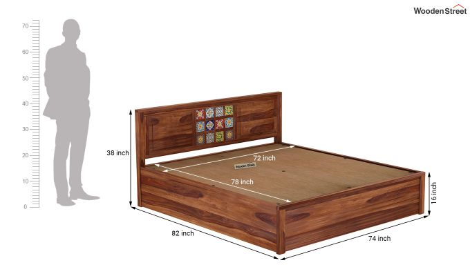 Boho Hydraulic Bed (King Size, Teak Finish)-9