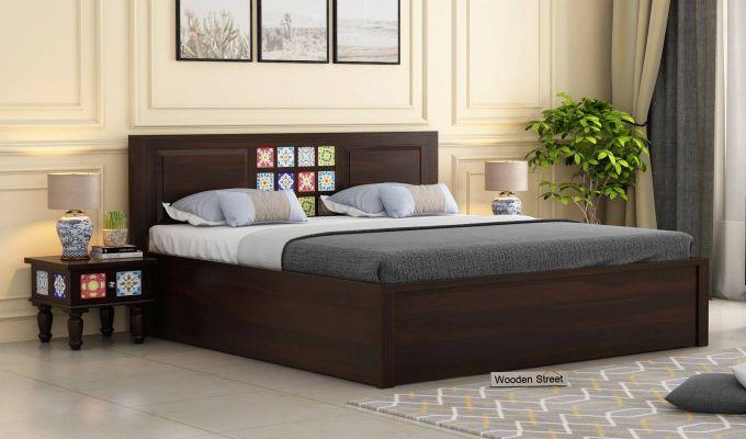 Boho Hydraulic Bed (King Size, Walnut Finish)-1