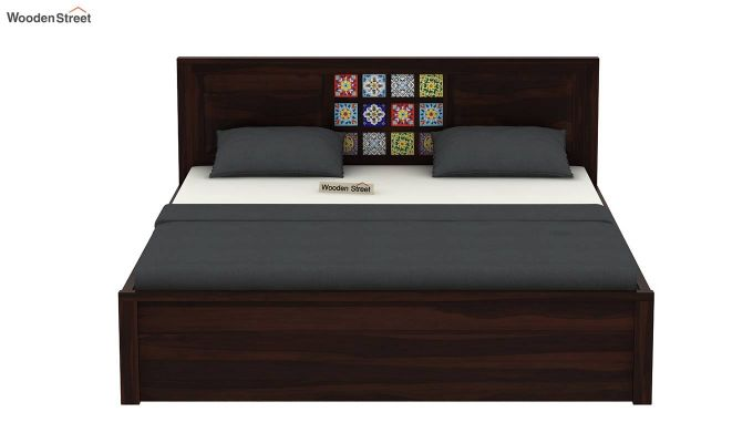 Boho Hydraulic Bed (Queen Size, Walnut Finish)-5