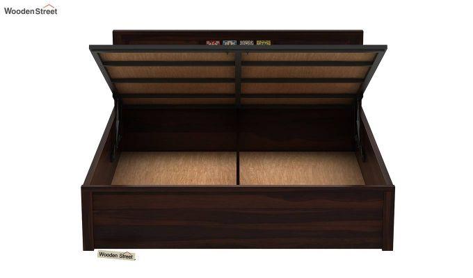 Boho Hydraulic Bed (King Size, Walnut Finish)-7
