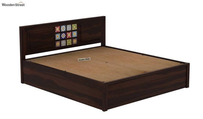 Boho Hydraulic Bed (Queen Size, Walnut Finish)-8