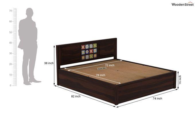 Boho Hydraulic Bed (King Size, Walnut Finish)-9