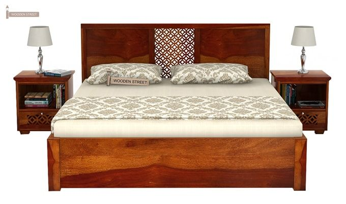 Cambrey Bed With Storage (Queen Size, Honey Finish)-2