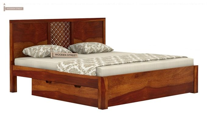 Cambrey Bed With Storage (Queen Size, Honey Finish)-4