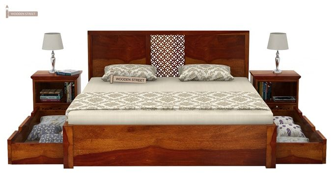 Cambrey Bed With Storage (Queen Size, Honey Finish)-5