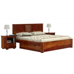 Cambrey Bed With Storage (Queen Size, Honey Finish)