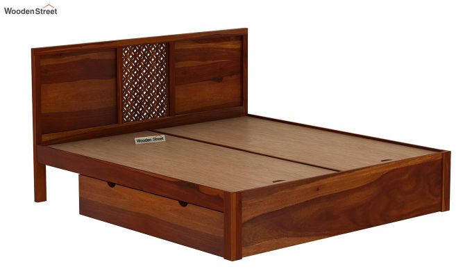 Cambrey Bed With Storage (Queen Size, Honey Finish)-6