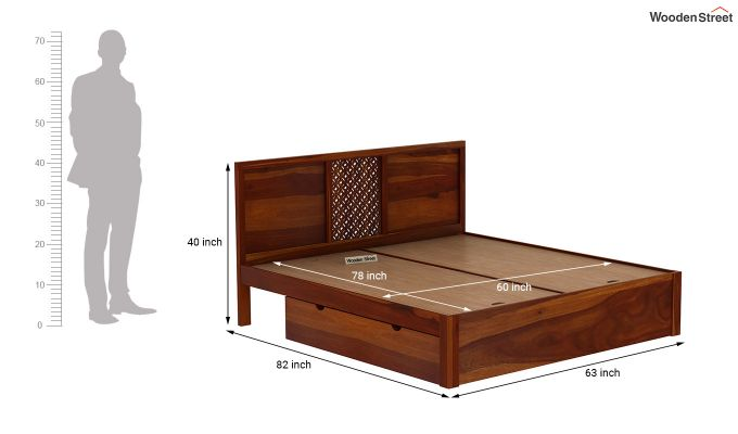 Cambrey Bed With Storage (Queen Size, Honey Finish)-7
