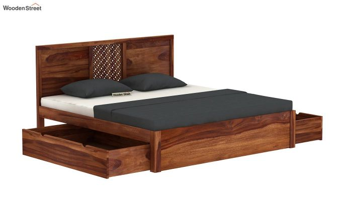 Cambrey Bed With Storage (Queen Size, Teak Finish)-4