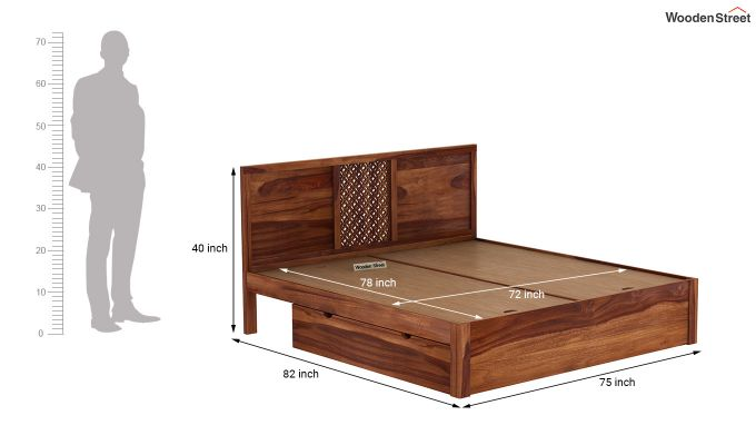 Cambrey Bed With Storage (King Size, Teak Finish)-7