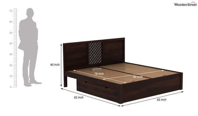 Cambrey Bed With Storage (Queen Size, Walnut Finish)-7