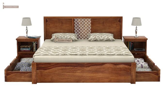 Cambrey Bed With Storage (King Size, Teak Finish)-5