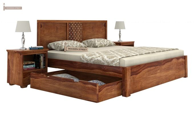Cambrey Bed With Storage (King Size, Teak Finish)-6