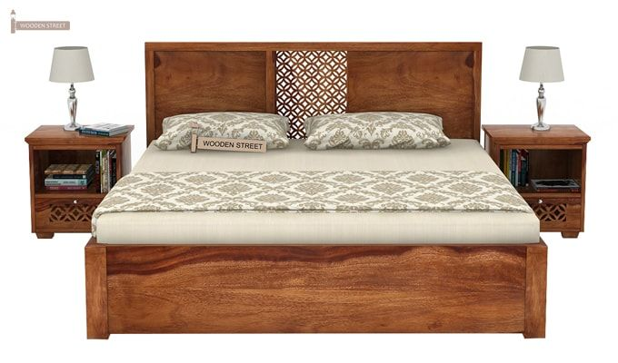 Cambrey Bed With Storage (King Size, Teak Finish)-3