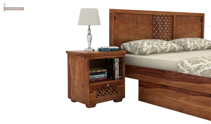 Cambrey Bed With Storage (King Size, Teak Finish)-4
