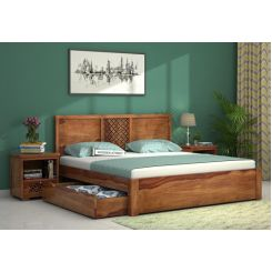 Cambrey Bed With Storage (Queen Size, Teak Finish)
