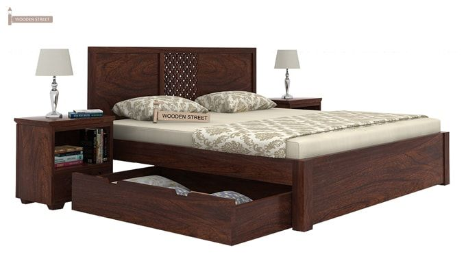 Cambrey Bed With Storage (Queen Size, Walnut Finish)-5