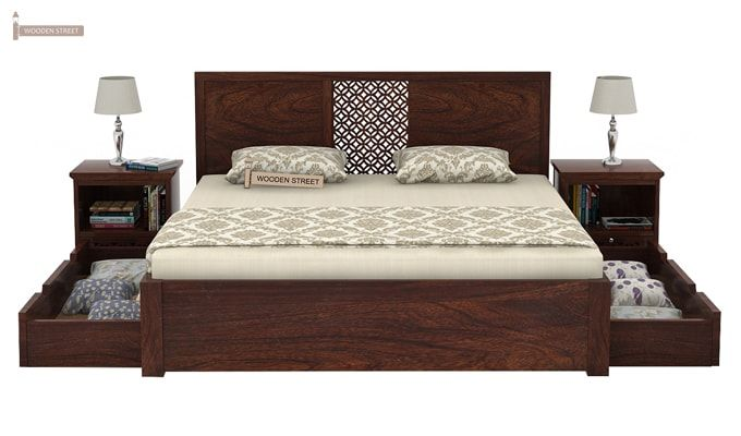 Cambrey Bed With Storage (Queen Size, Walnut Finish)-6