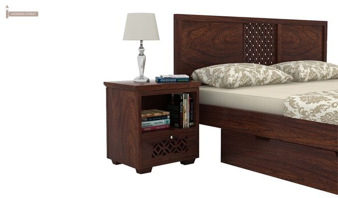 Cambrey Bed With Storage (Queen Size, Walnut Finish)-4