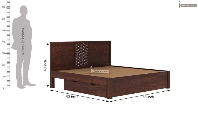 Cambrey Bed With Storage (Queen Size, Walnut Finish)-8