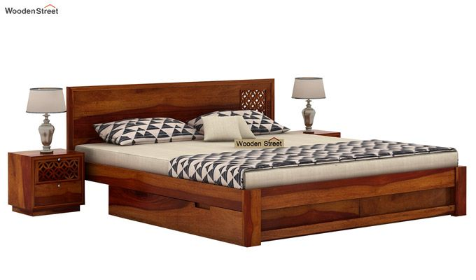 Cambrey Designed Bed With Storage (King Size, Honey Finish)-2