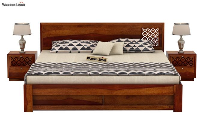 Cambrey Designed Bed With Storage (King Size, Honey Finish)-3