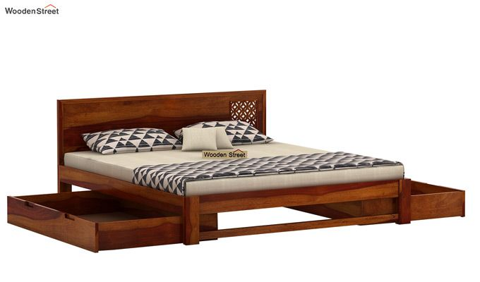 Cambrey Designed Bed With Storage (King Size, Honey Finish)-5