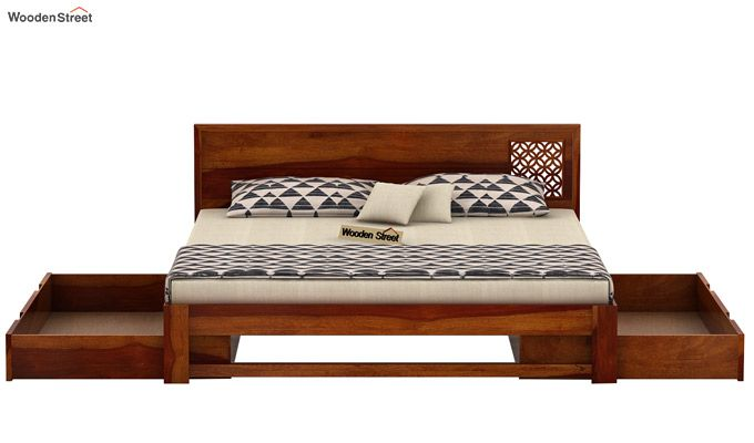 Cambrey Designed Bed With Storage (King Size, Honey Finish)-6