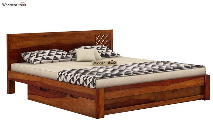 Cambrey Designed Bed With Storage (King Size, Honey Finish)-4