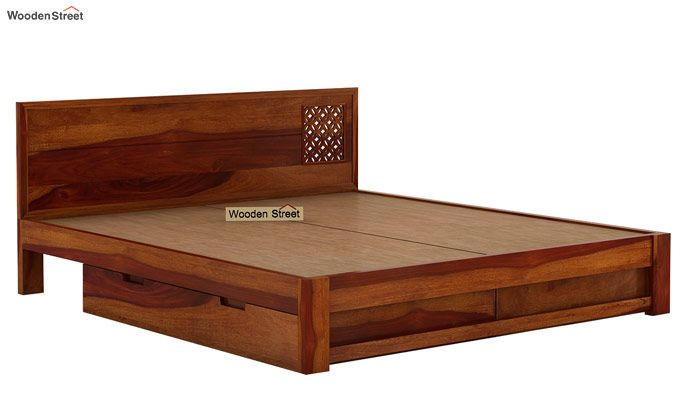Cambrey Designed Bed With Storage (King Size, Honey Finish)-7