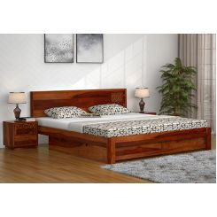 Cambrey Designed Bed With Storage (King Size, Honey Finish)