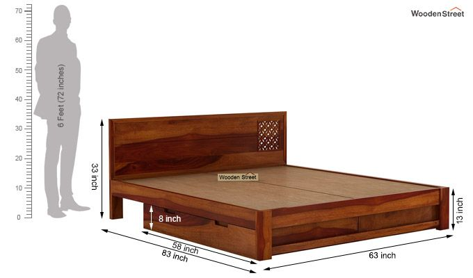 Cambrey Designed Bed With Storage (Queen Size, Honey Finish)-8