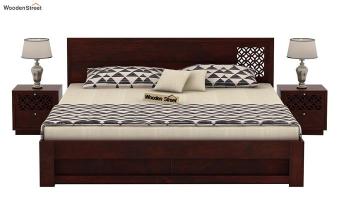 Cambrey Designed Bed With Storage (King Size, Mahogany Finish)-2