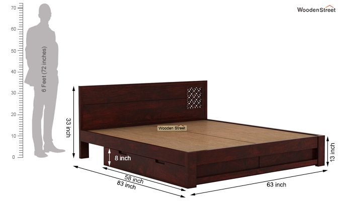 Cambrey Designed Bed With Storage (Queen Size, Mahogany Finish)-7