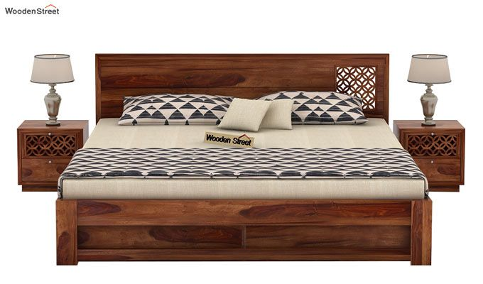 Cambrey Designed Bed With Storage (King Size, Teak Finish)-2