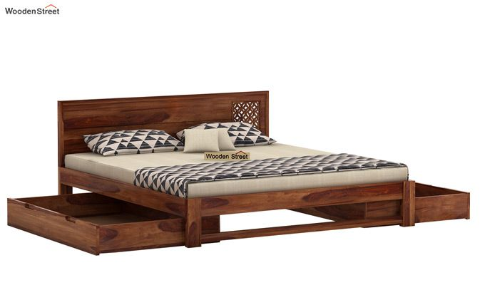 Cambrey Designed Bed With Storage (King Size, Teak Finish)-4
