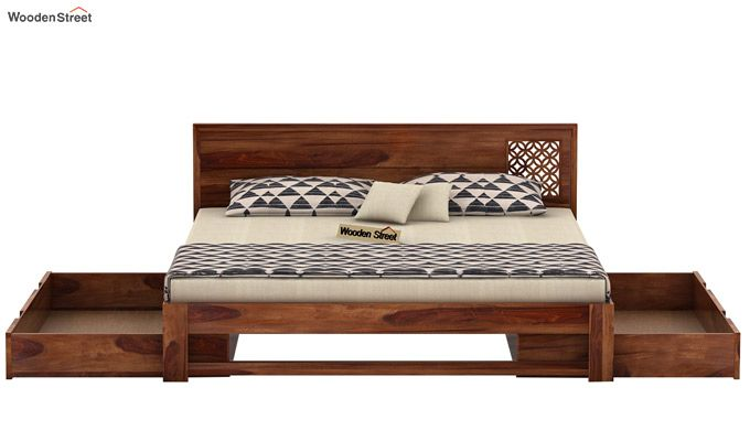 Cambrey Designed Bed With Storage (King Size, Teak Finish)-5