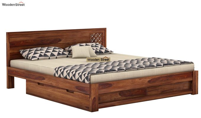 Cambrey Designed Bed With Storage (King Size, Teak Finish)-3