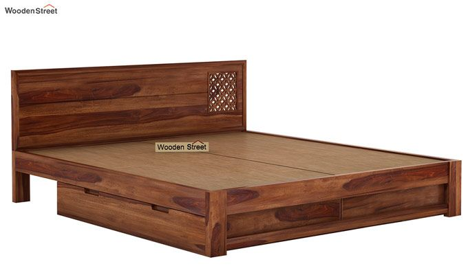 Cambrey Designed Bed With Storage (King Size, Teak Finish)-6