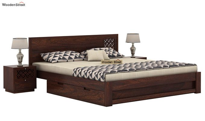 Cambrey Designed Bed With Storage (King Size, Walnut Finish)-2
