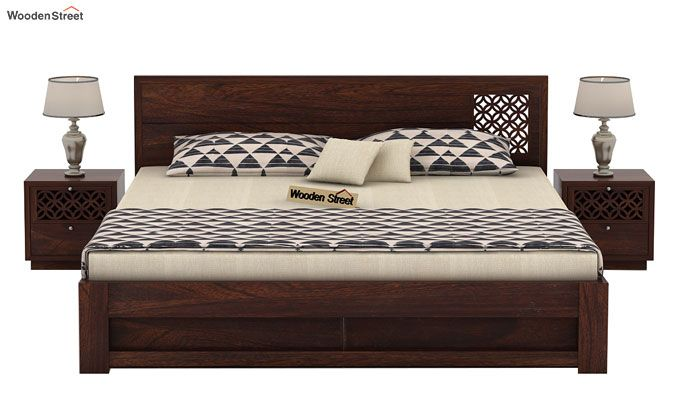 Cambrey Designed Bed With Storage (Queen Size, Walnut Finish)-3