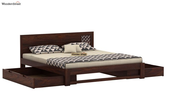 Cambrey Designed Bed With Storage (Queen Size, Walnut Finish)-5